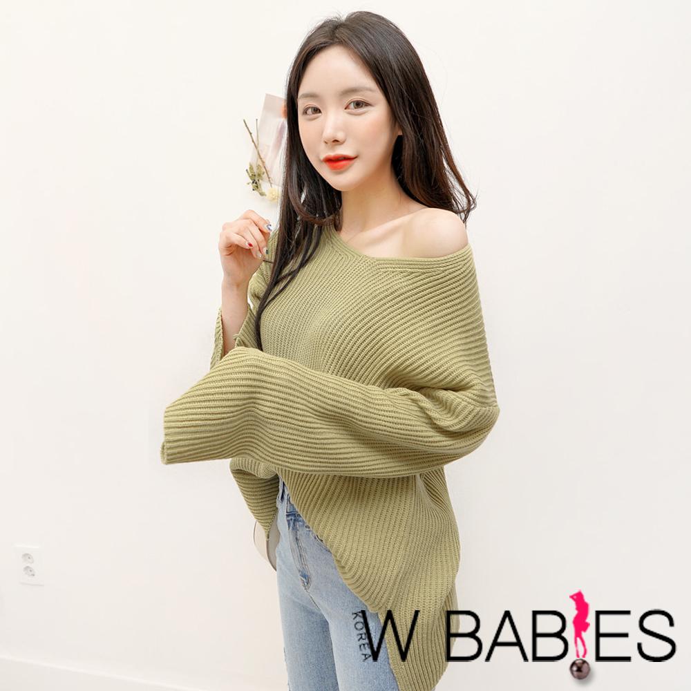 正韓 純色V領寬袖針織毛衣 (共三色)-W BABIES @ Y!購物