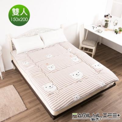 【FL生活+】日式加厚8cm雙人床墊(150*200cm)-條紋小熊(FL-109-C)
