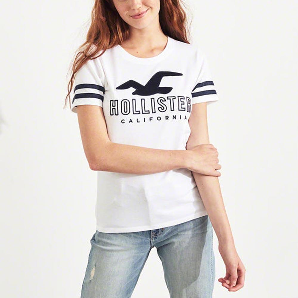 HCO Hollister 海鷗 經典刺繡大海鷗文字短袖T恤(女)-白色