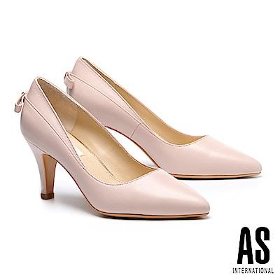 高跟鞋 AS 優雅蝴蝶結造型素面羊皮尖頭高跟鞋-粉
