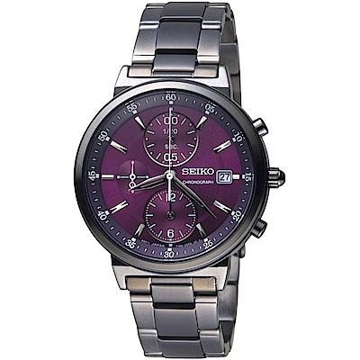 SEIKO精工CS系列時尚計時腕錶(SNDV25P1)-紫x黑