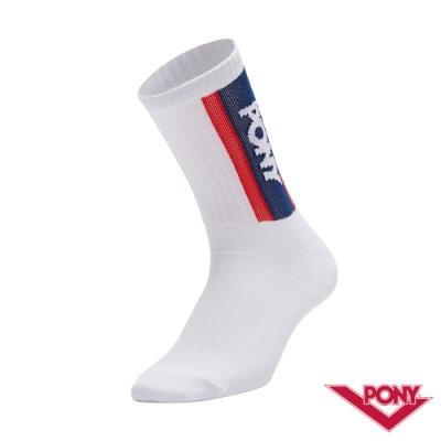 【PONY】中筒襪 運動襪 訓練襪 籃球襪 白 5入