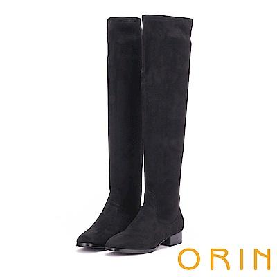 ORIN 微醺性感 素面彈性絨布過膝粗跟長靴-黑色