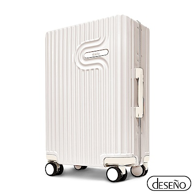 Deseno 法式工藝陶瓷款 20 吋PC光鏡細鋁框行李箱-白色