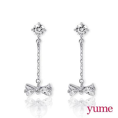 YUME - 純銀夾式-晶鑽垂吊小蝴蝶結耳環