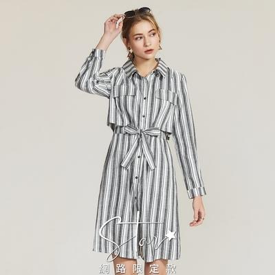 SO NICE知性條紋棉麻襯衫洋裝