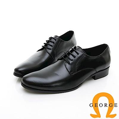 【GEORGE 喬治皮鞋】輕量系列 綁帶柔軟紳士皮鞋-黑色