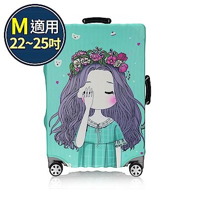 旅遊首選 行李箱套 防塵套 保護套 加厚高彈性伸縮 箱套 M號(女孩)