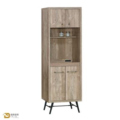 D&T 德泰傢俱 Corey 復古工業生活2尺餐櫃 寬60X深45X高182公分