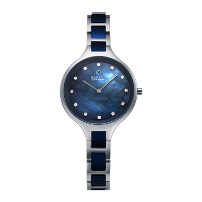 OBAKU 奢華水鑽珍珠母貝精緻腕錶-鋼色x藍色-V218LXCLSL