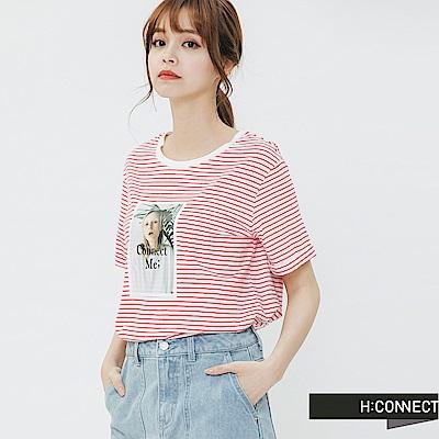H:CONNECT 韓國品牌 女裝-彩色圖印條紋T-shirt-紅