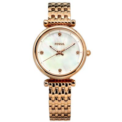 FOSSIL 經典簡約 珍珠母貝 日本機芯 不鏽鋼手錶-銀白x鍍玫瑰金/28mm