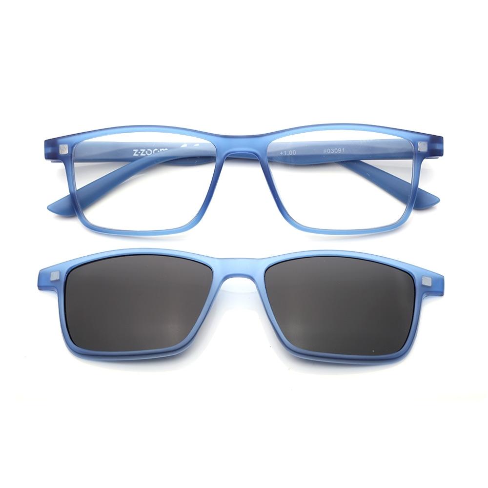 【 Z·ZOOM 】老花眼鏡 磁吸太陽眼鏡系列 知性矩形細框款(藍色)