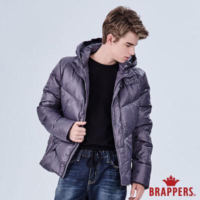 BRAPPERS 男款 可拆帽斜紋修身羽絨外套-深灰