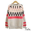 馬海毛拼色針織上衣 TATA