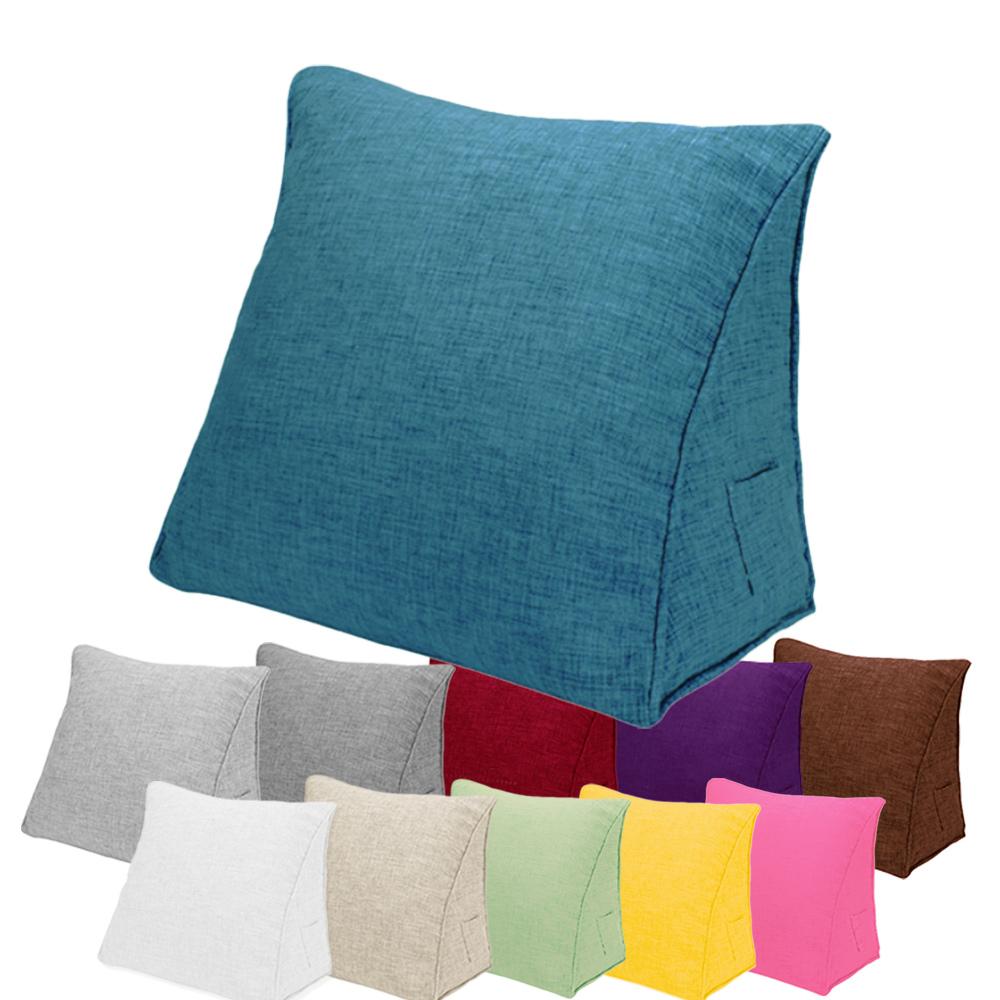 【收納職人】日式簡約純彩手感棉麻織紋舒壓三角抱枕/靠枕/腿枕 (孔雀藍)