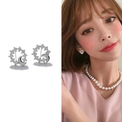 梨花HaNA 韓國925銀小巧月之女神細鑽耳環
