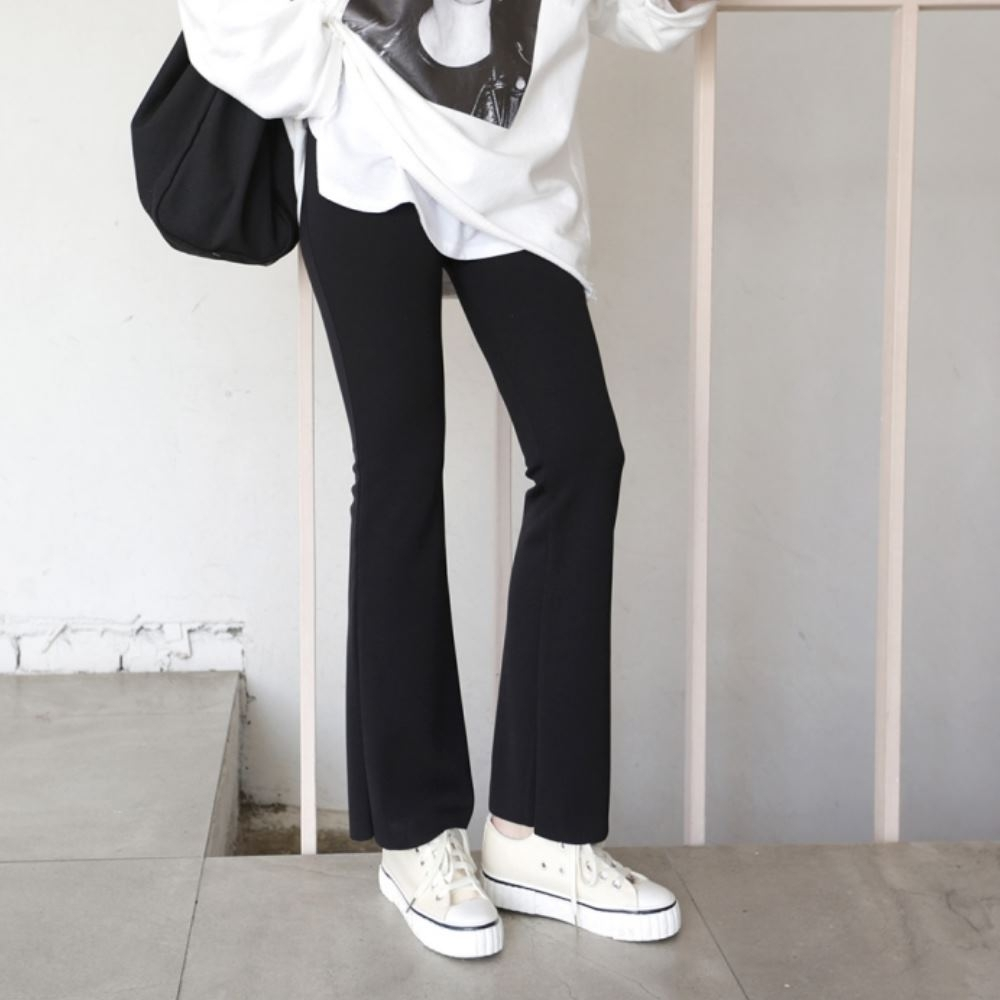 La Belleza黑色鬆緊腰彈性棉質神腿小喇叭褲(薄料)