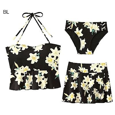 aimerfeel 花卉綁繩3件式泳衣-黑色