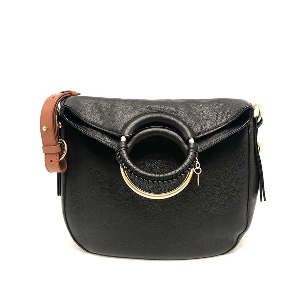 SEE BY CHLOE Monroe 黑色大款手提斜背牛皮二用包