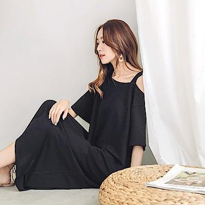 純色露單肩寬鬆洋裝-OB嚴選