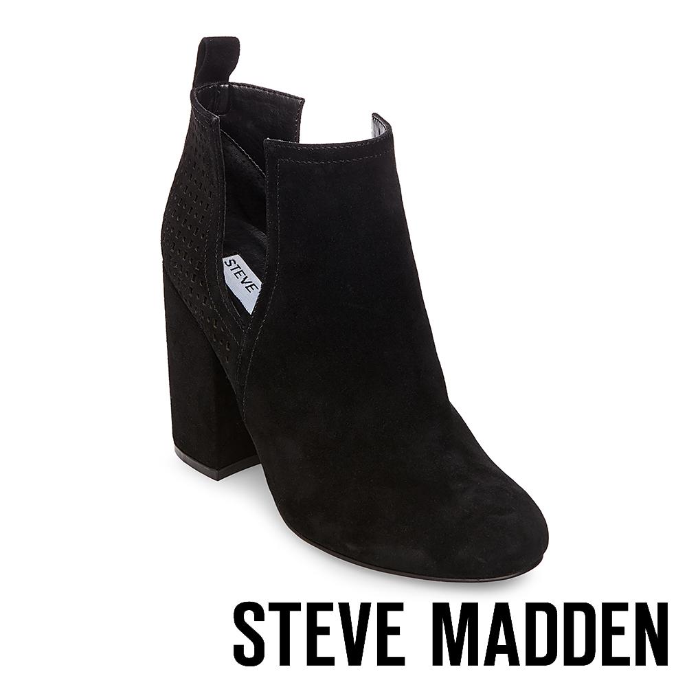 STEVE MADDEN-NOMAD經典時尚側面鏤空設計粗跟靴-絨黑