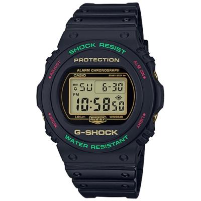 CASIO 卡西歐G-SHOCK 紅綠雙色幾何氛圍手錶-黑(DW-5700TH-1)