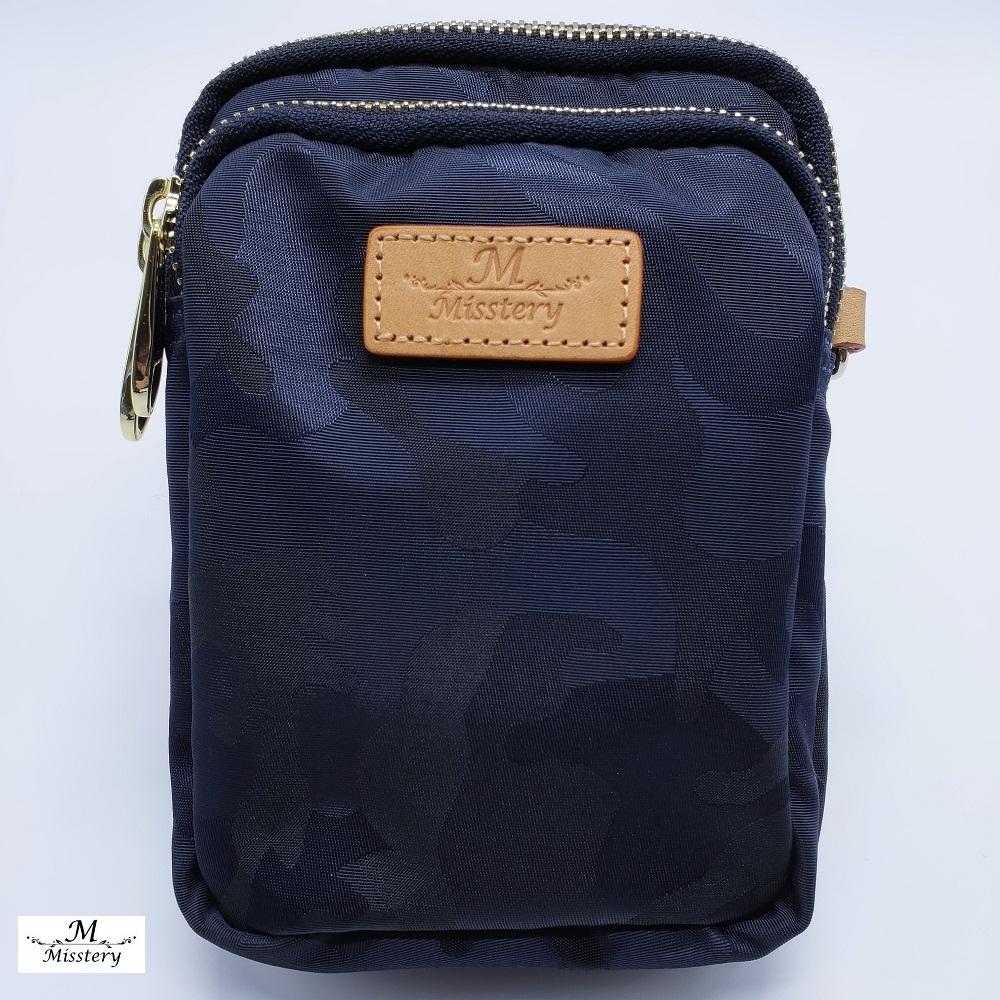 【Misstery】手機包迷彩直立式手機包/腰包-藍(防潑水面料搭配頂級植鞣皮革)