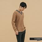 H:CONNECT 韓國品牌 男裝 - 雙色滾邊V領針織衫  - 卡其