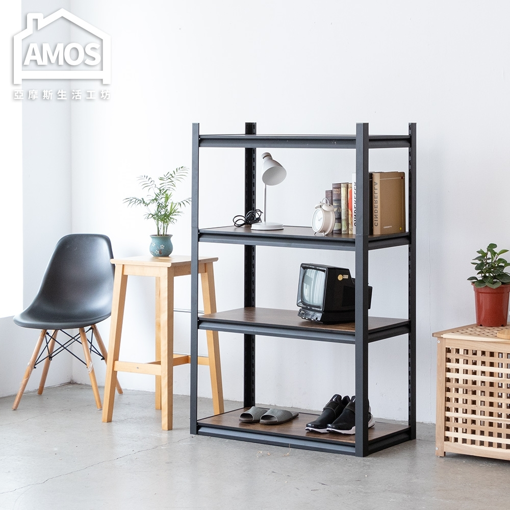 Amos-輕工業復古風免螺絲四層木板角鋼層架