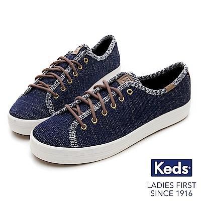 Keds KICKSTART 毛圈線紗綁帶休閒鞋-藍色