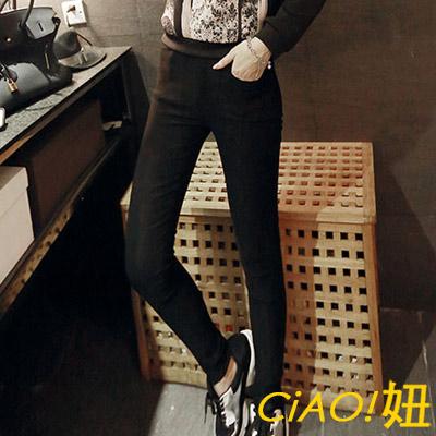 韓妞素面口袋彈性小腿褲 (共二色)-CiAO妞