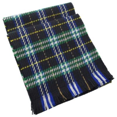 BURBERRY 經典格紋針織流蘇長型羊毛圍巾(黑綠)