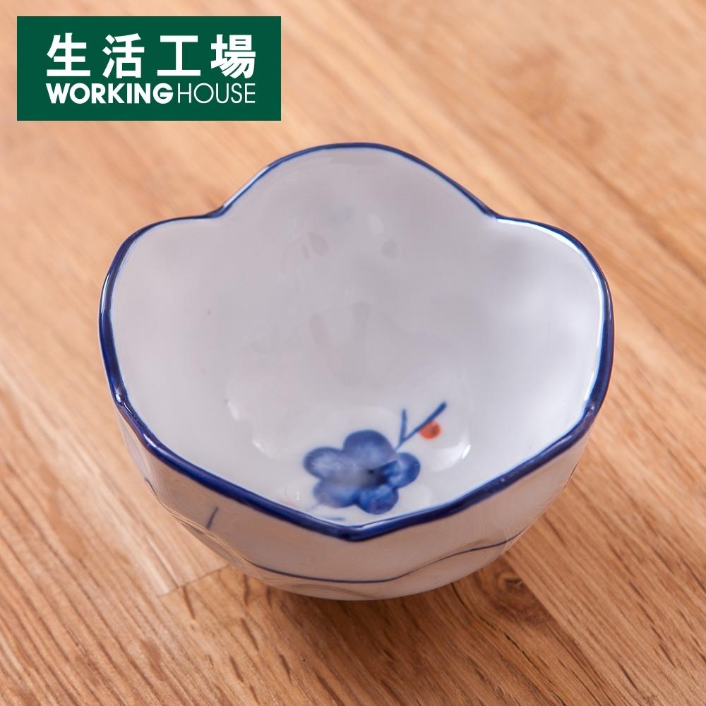 【給皂機加購中-生活工場】青窯手繪紅點梅梅型缽9cm
