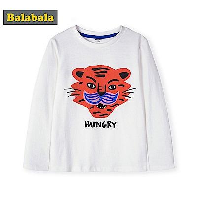 Balabala巴拉巴拉-老虎造型圖案純棉長袖T恤-男(3色)
