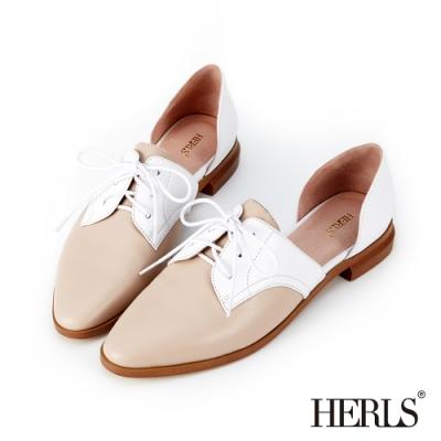 HERLS 摩登女紳 全真皮側V口鏤空尖頭牛津鞋-裸粉X白色