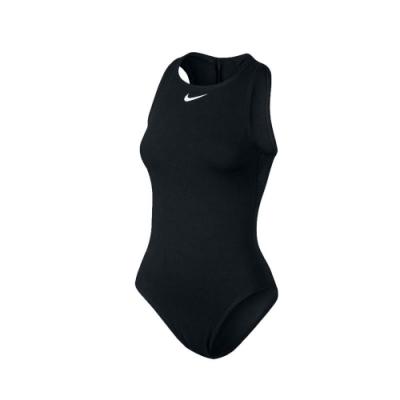 NIKE 女 即頸連身泳衣  SWIM 黑白