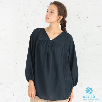earth music 蕾絲拼接設計V領寬鬆長版上衣
