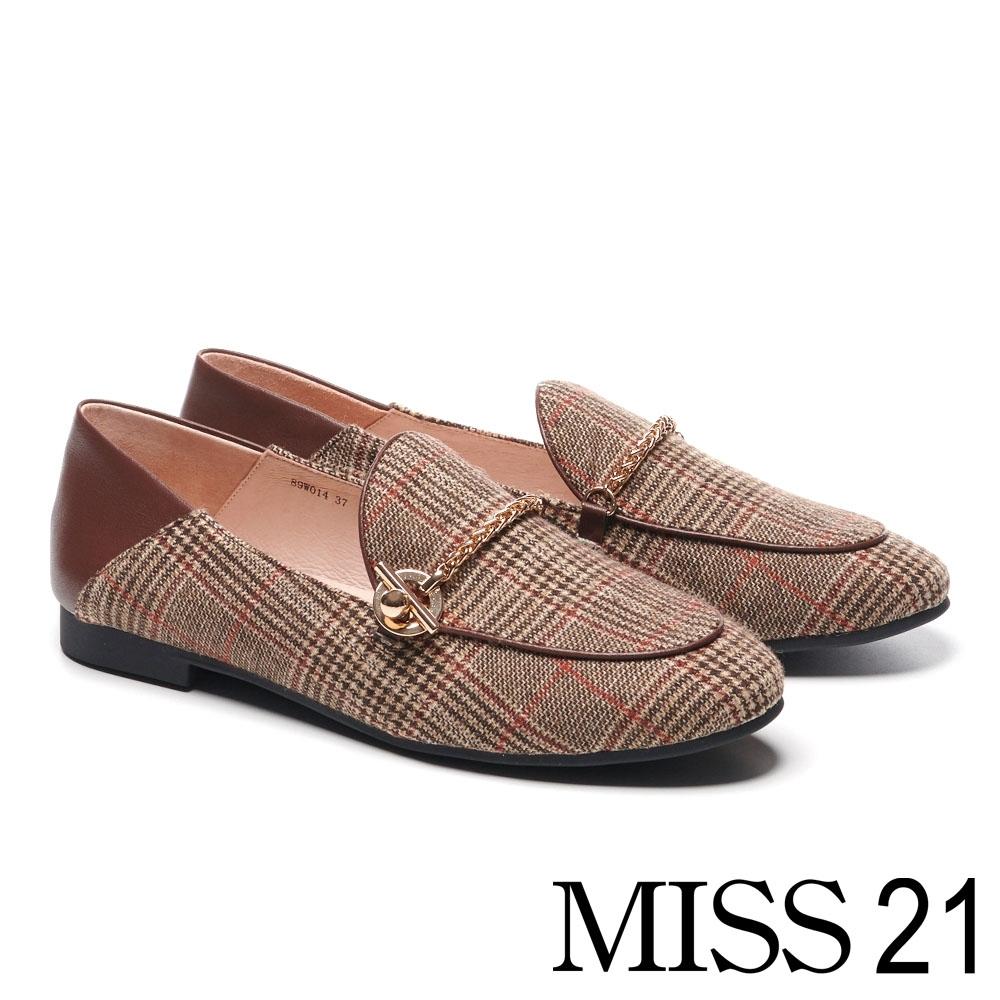 跟鞋 MISS 21 復古懷舊金屬鍊條格紋布樂福低跟鞋-經典格紋