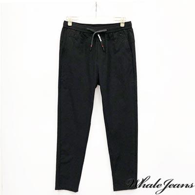 WHALE JEANS 男款韓系修長綁帶素色窄管褲-2色