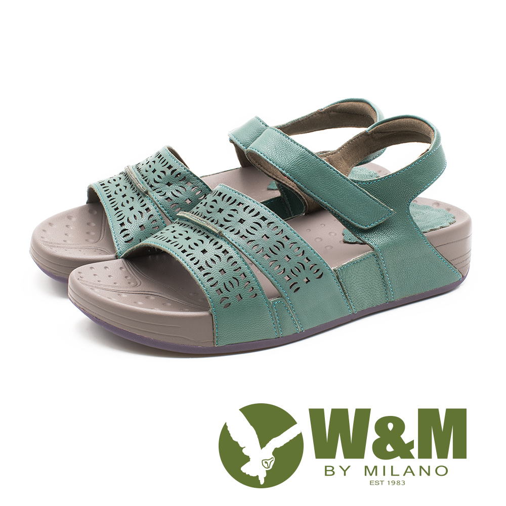 W&M 幾何簍空花紋厚底涼鞋 女鞋 - 綠(另有粉)