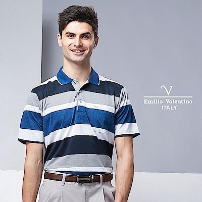 EmilioValentino清新舒適運動直條POLO衫藍/白/灰15-9V2905