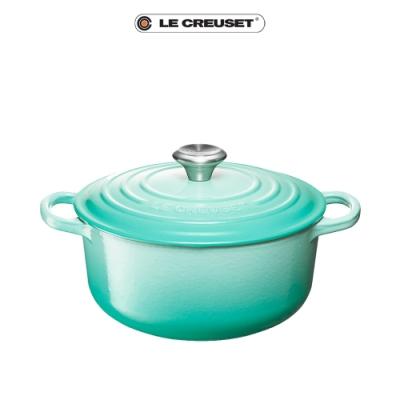 LE CREUSET典藏琺瑯鑄鐵圓鍋18cm(薄荷綠)鋼頭