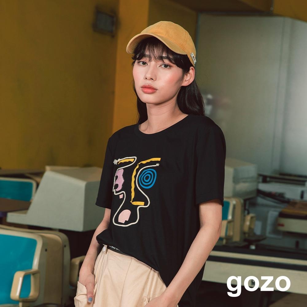 gozo-美國復古幾何臉譜上衣-(兩色)