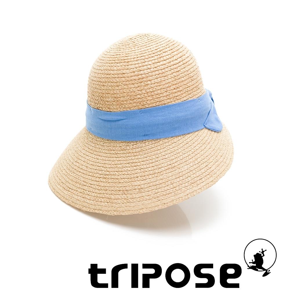 tripose INA 100% Raffia入門款不對稱設計草帽 (飾帶-藍色)