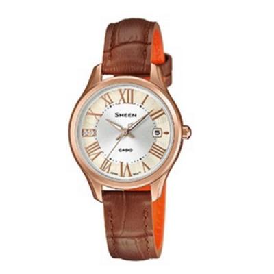 CASIO卡西歐 簡約施華洛世奇皮革女腕錶(SHE-4050PGL-7A)-咖啡x28mm