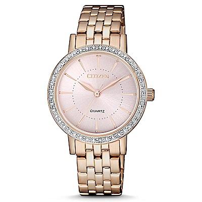 CITIZEN 嫻熟知性施華洛世奇石英女錶(EL3043-81X)-粉x31mm
