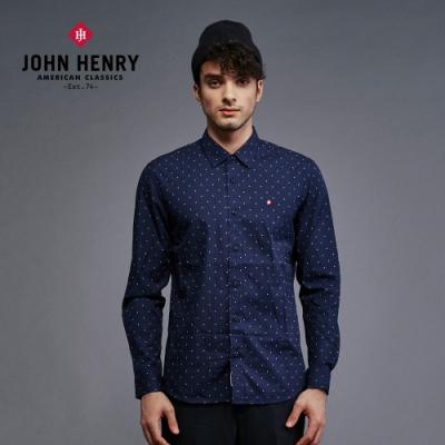 【JOHN HENRY】滿版復古幾何圖型配色襯衫-藍