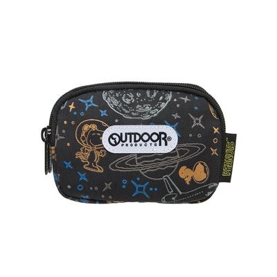 【OUTDOOR】SNOOPY聯名款太空人系列雙拉鍊零錢包-黑色 ODP21E15BK