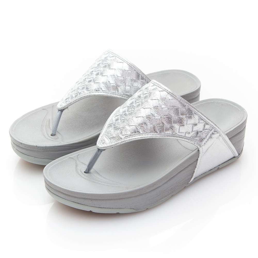 Camille's 韓國空運-編織夾腳厚底涼拖鞋-銀色